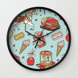 carnival pattern on blue Wall Clock