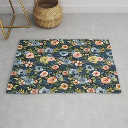 Nightfall Floral Print, Watercolor Flowers, Navy Blue, Salmon Pink, Mustard Yellow Rug