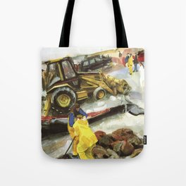 Blue whale on Second Beach, dissection with back-hoe, No. 1 - Middletown Tote Bag