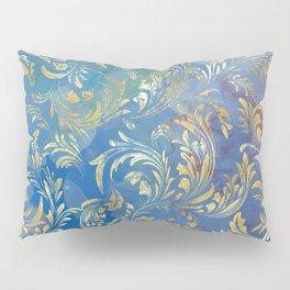 Blue Gold Swirls #2 Pillow Sham
