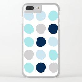 Minimal painted dot polkaed ot pattern blue navy indigo gender neutral nursery Clear iPhone Case