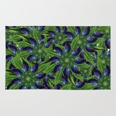 Vintage Blue Floral Pattern Collage Rug