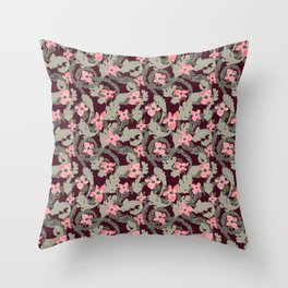 Acanthus Leaves and Dogwood Floral pattern Throw Pillow