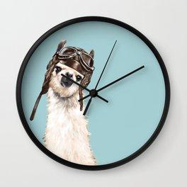 Cool Pilot Llama in Blue Wall Clock