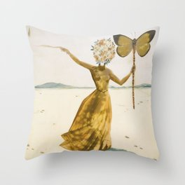 Vintage poster-Salvador Dali-Woman with a butterfly.  Throw Pillow