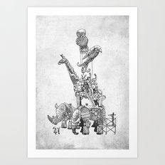 The Clockwork Menagerie (Silver) Art Print