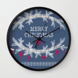 Merry christmas and happy new year greeting card wreath background Wall Clock