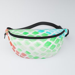 Rainbow Watercolor Tiles Mosaic Square Colourful Abstract Art Fanny Pack