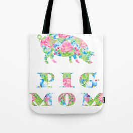 Pig Mom Floral Pigs Silhouette Pink Blue Flowers Tote Bag