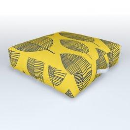 Yellow Navy Leaf Pattern Outdoor Floor Cushion
