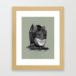 Adam West Caped Crusader (Black and White) Framed Art Print