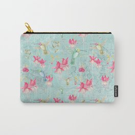 Vintage Watercolor hummingbird and Fuchsia Flowers on mint Back ground Carry-All Pouch