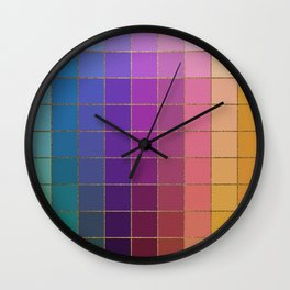 Color Rainbow Square Pattern Wall Clock