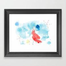 Christmas girl in the snow Framed Art Print