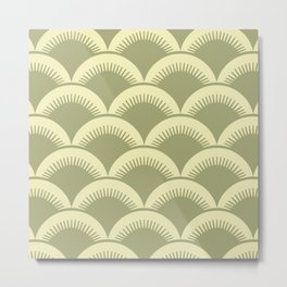 Japanese Fan Pattern Olive and Yellow Metal Print