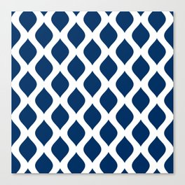 Dark blue and white curved lines pattern Canvas Print