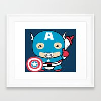 avenger Framed Art Prints featuring Littlest Avenger by OneWeirdDude
