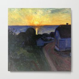 Ocean Sunrise Behind the Beach Cottage coastal landscape painting by Edvard Munch Metal Print