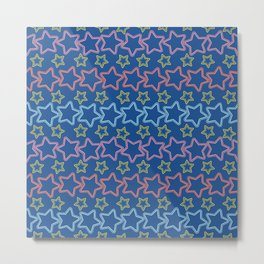 Colorful stars with dots Metal Print