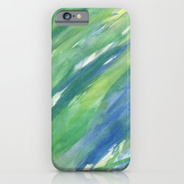 Blue green yellow watercolor hand painted brushstrokes iPhone Case