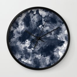 Abstract Navy Watercolor Wall Clock