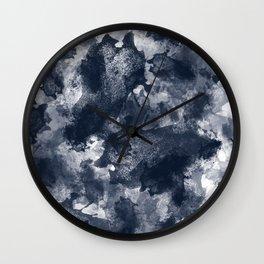 Abstract Navy Watercolor Wall Clock