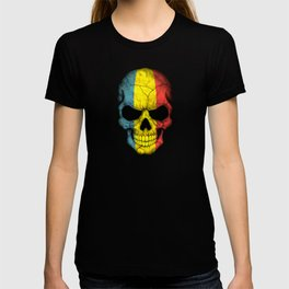 Dark Skull with Flag of Romania T-shirt