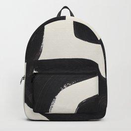 Mid Century Modern Minimalist Abstract Art Brush Strokes Black & White Ink Art Maze Backpack