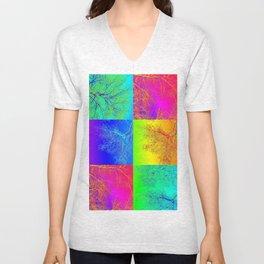 rainbow tree collage by Catherine Jacobs - Cathy of SheerJoy Unisex V-Neck