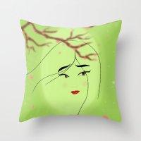 mulan Throw Pillows featuring Mulan by Tiffany Taimoorazy