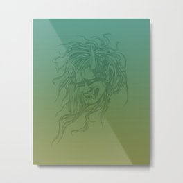 Japanese Oni Head Metal Print