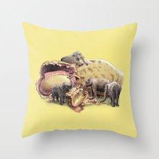 Elephant's Paradise (colour option) Throw Pillow