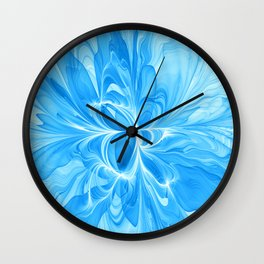 Blue Jeans Colors And White, Abstract Fractal Art Wall Clock