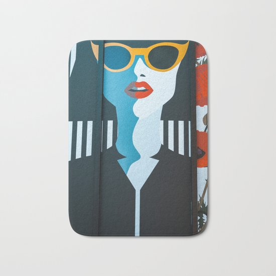 Girl with sunglasses Bath Mat