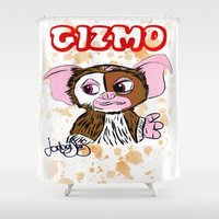 gizmo Shower Curtains featuring GIZMO - GREMLINS ILLUSTRATION  by Jonboistars