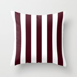 Chocolate brown - solid color - white vertical lines pattern Throw Pillow