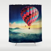 hot air balloons Shower Curtains featuring Hot Air Balloons by EclipseLio