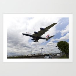 British Airways A380 Heathrow Airport Art Print