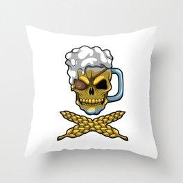 Beer Mug Skull - Brewery Pirate - Oktoberfest Throw Pillow