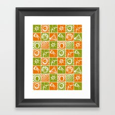 Microscopic Life Sillouetts Orange and Green Framed Art Print