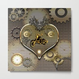 Steampunk, motorcycle Metal Print