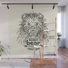 Linocut with a picture of bear Wall Mural