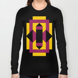 Two purple prisms with black bases coming from a rectangle, which is a table. Yellow pavement. Long Sleeve T-shirt