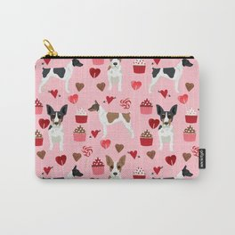Rat Terrier valentines day cupcakes love hearts dog breed pet art dog pattern gifts unique pure bree Carry-All Pouch