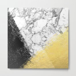 Astra - marble black and gold abstract art minimalist home decor office dorm nursery Metal Print