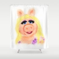 muppets Shower Curtains featuring Miss Piggy, The Muppets by KitschyPopShop