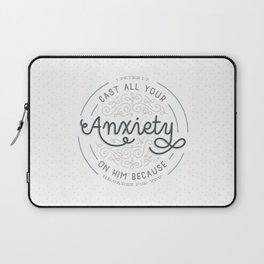 """""""Cast All Your Anxiety on Him"""" Bible Verse Print Laptop Sleeve"""