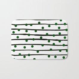 Modern black forest green polka dots stripes Bath Mat