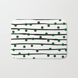 Modern black forest green polka dots stripes Bath Mat