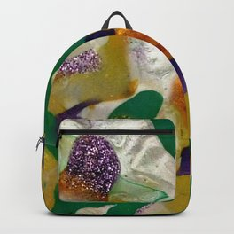 Teal Pearl White and Yellow Acrylic Painting Backpack